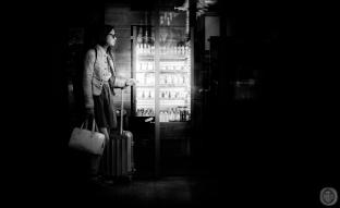 ...travelling lady lit by the fridge light...