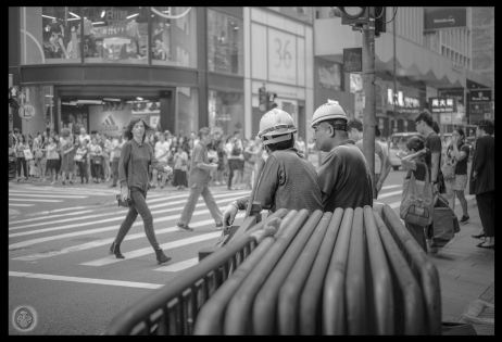 ...construction workers watching the ladies...