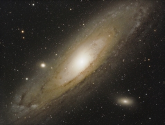 ...Andromeda... M31, Andromeda galaxy, 2.5 Mio LY away from us, taken with an exposure time of 2 hours 12 minutes, camera: ASI1600MC-PRO, Scope: TSAPO102F7 lanthan doublet. M31 is the next neighbor galaxy to our milky way, it is huge at the night sky, and at darker skies you can even see it with your bare eyes...