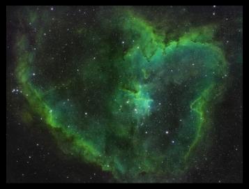 IC1805, der Herznebel, in Schmalband aufgenommen, Ha (Wasserstoff-alpha), OIII (ionisierter Sauerstoff), SII (ionisierter Schwefel), und der Hubble Palette zugeordnet. Belichtungszeit 3Stunden: 15x4Min Ha, 15x4Min OIII, 15x4Min SII, TSAPO102@f5.5, ASI1600MMPRO